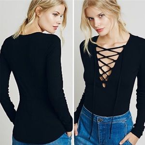 Free People Lace Up Long Sleeve Black Top Size M